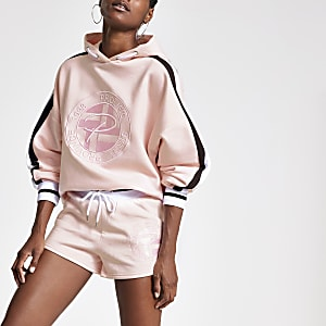 Pink 'Prolific' embroidered jersey shorts