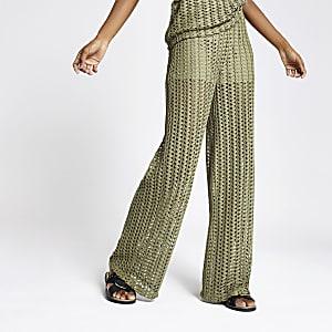 Khaki crochet wide leg trousers