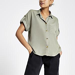 Kaki utility-overhemd met korte mouwen