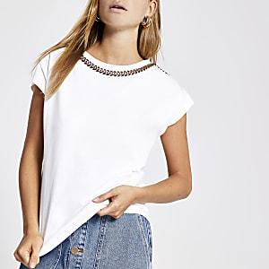 White chain trim T-shirt