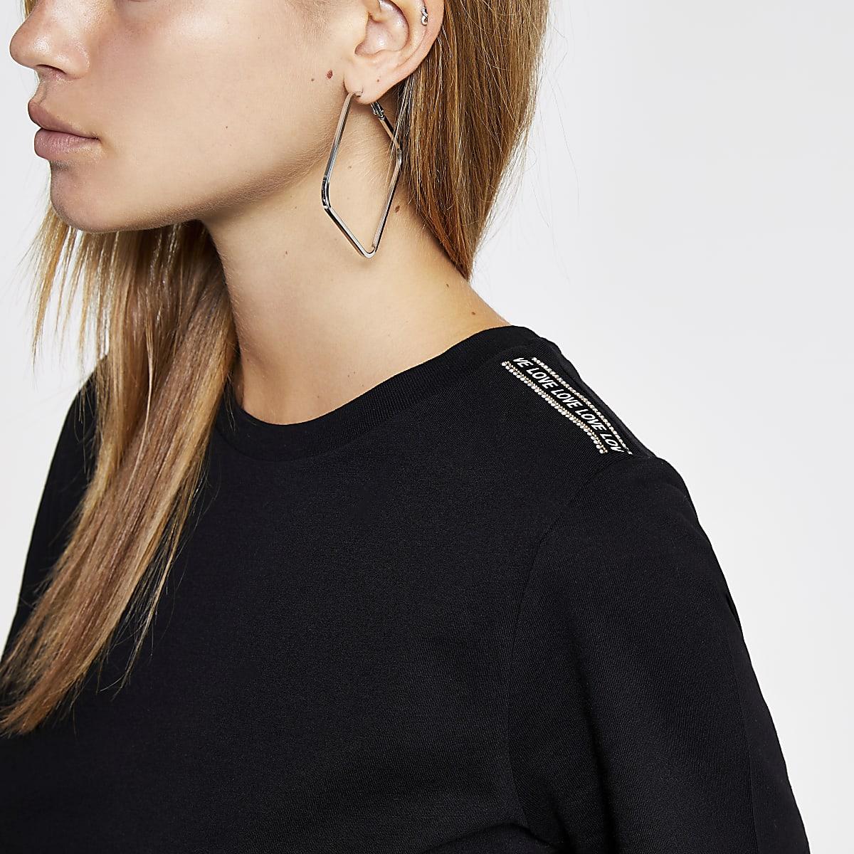 Black 'Love' diamante trim T-shirt