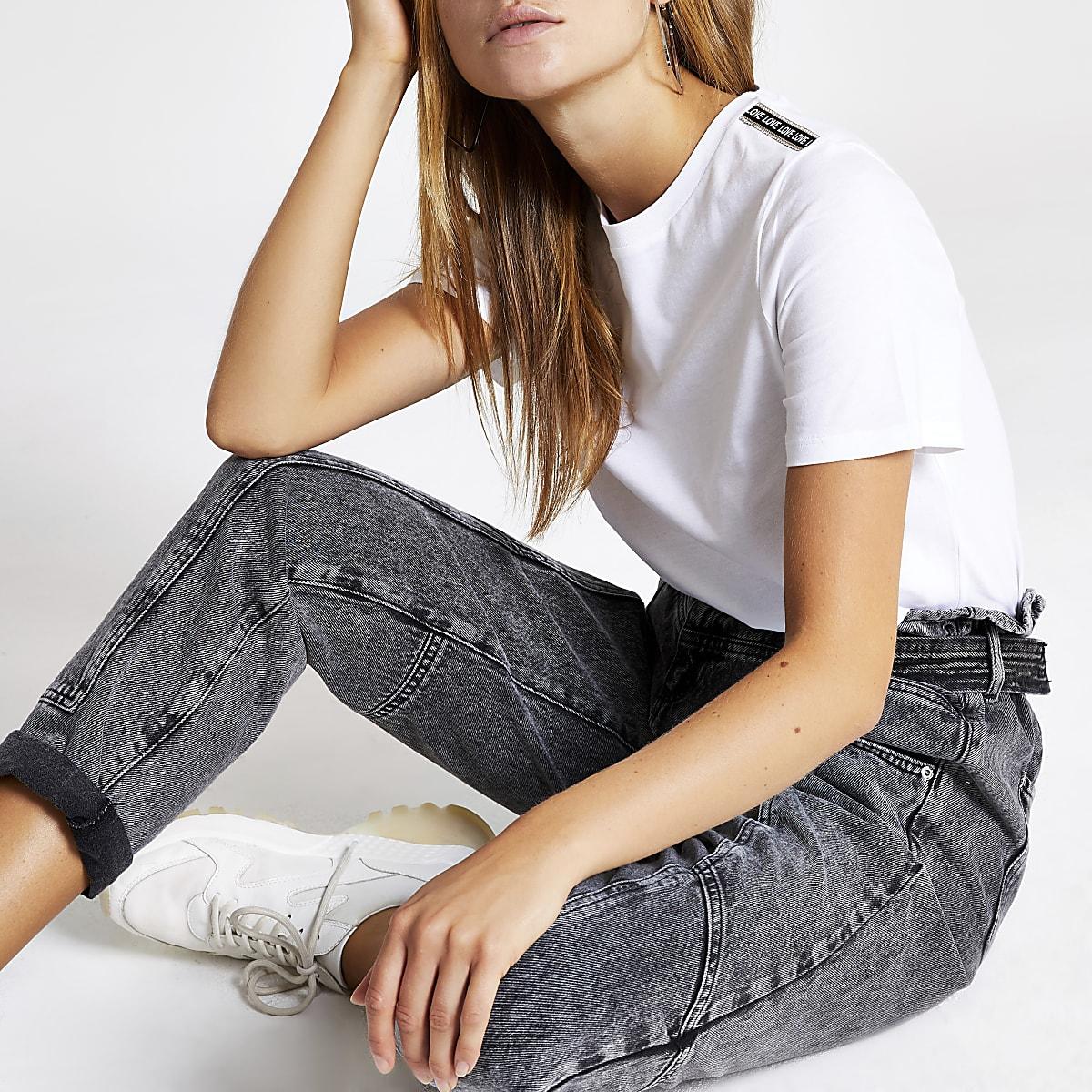 White 'Love' diamante trim T-shirt