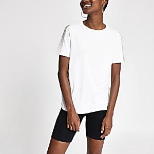 Cream rhinestone trim T-shirt