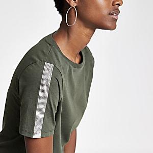 Khaki rhinestone trim T-shirt