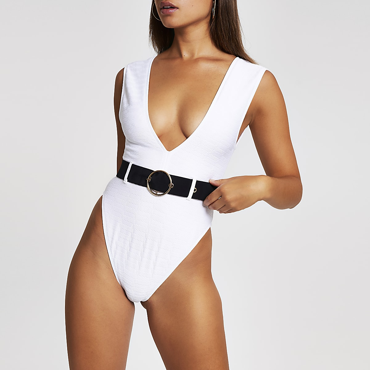 White rib plunge belted swimsuit