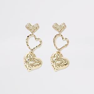 Gold colour textured heart drop earrings