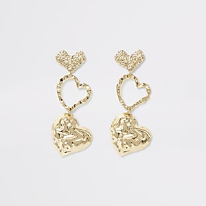 Gold color textured heart drop earrings