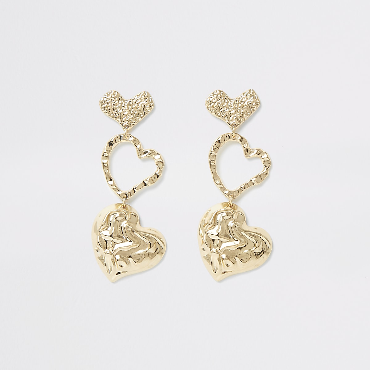 Gold colour textured heart drop earrings