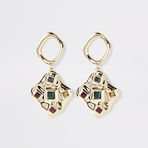 Gold color scattered gem drop earrings