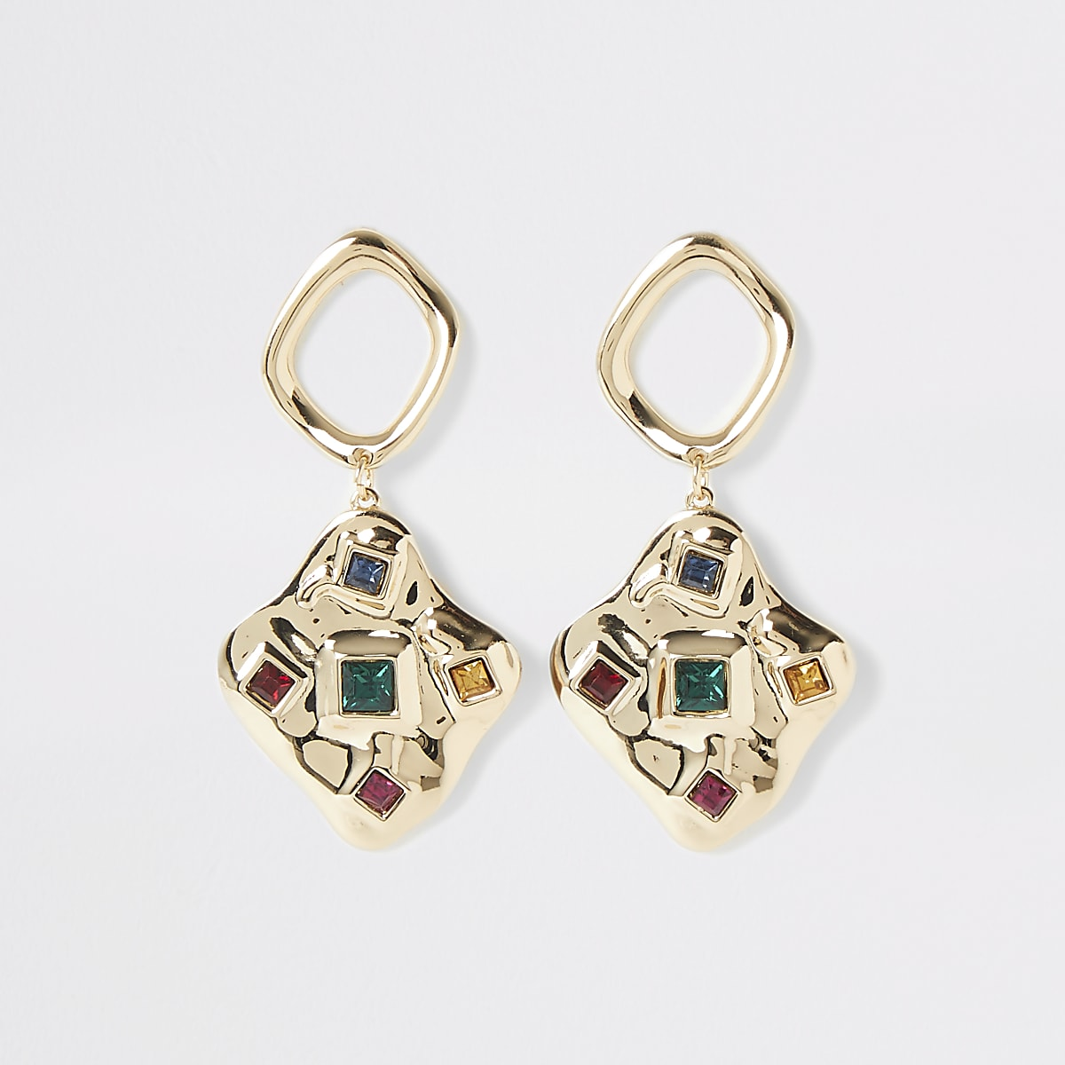 Gold colour scattered gem drop earrings