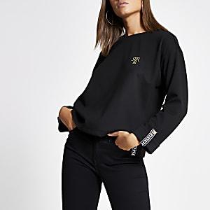 T-shirt noir à manches longues et bandes RI