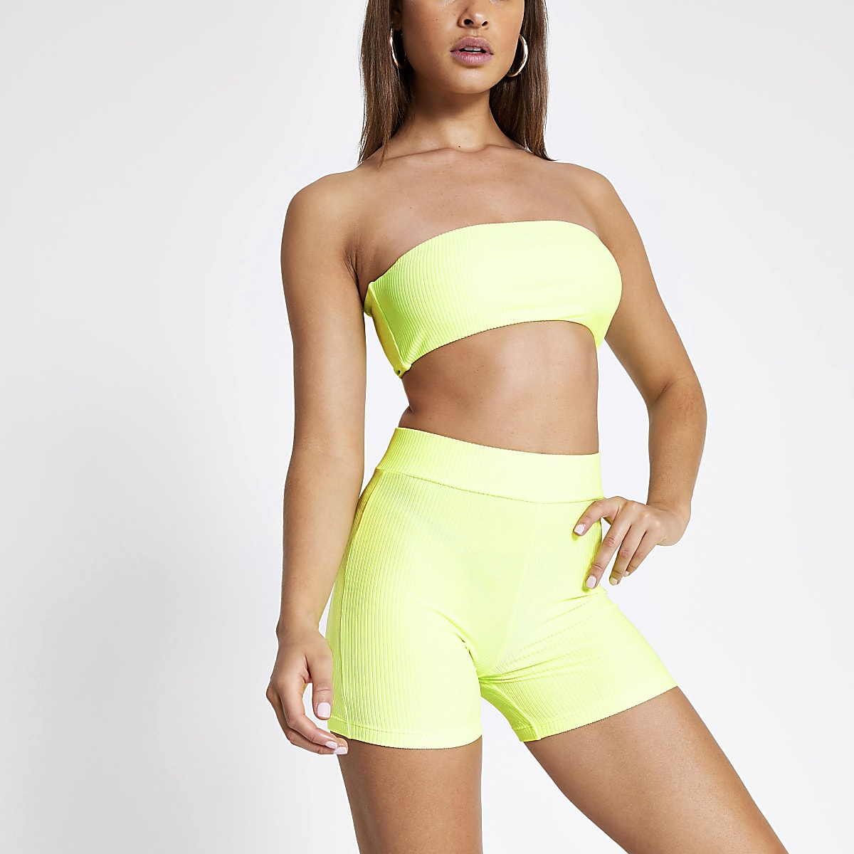 Neon green rib high waist swim shorts