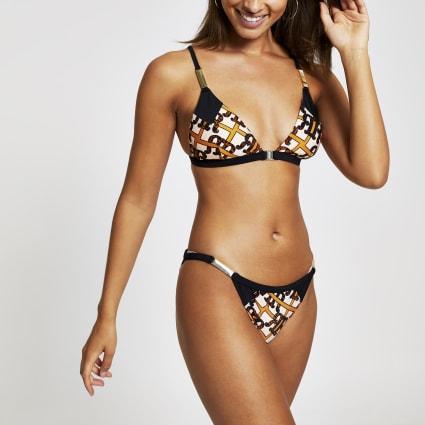 Brown RI logo print triangle bikini top