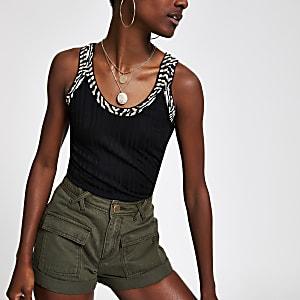 Zwart hemdje met zebraprint