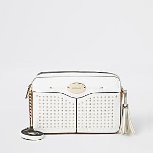 White studded cross body bag