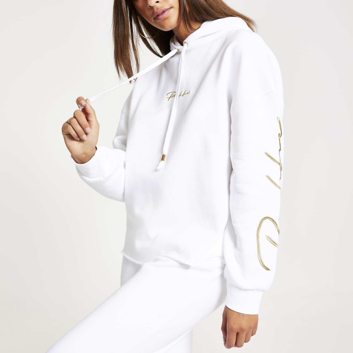 White 'Prolific' embroidered hoodie