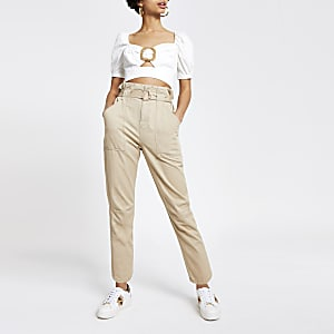 Beige twill paperbag waist utility pants