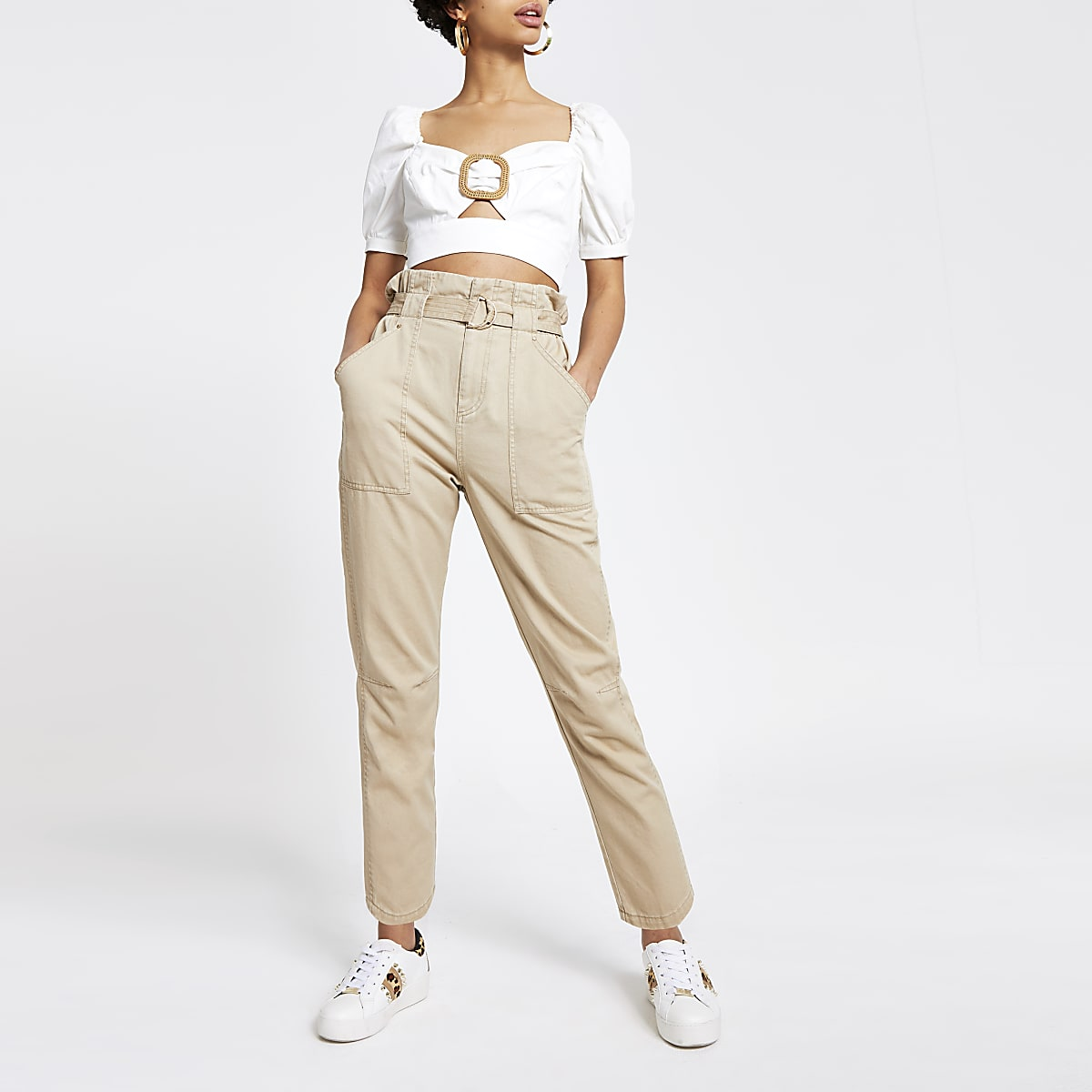 Beige twill paperbag waist utility trousers