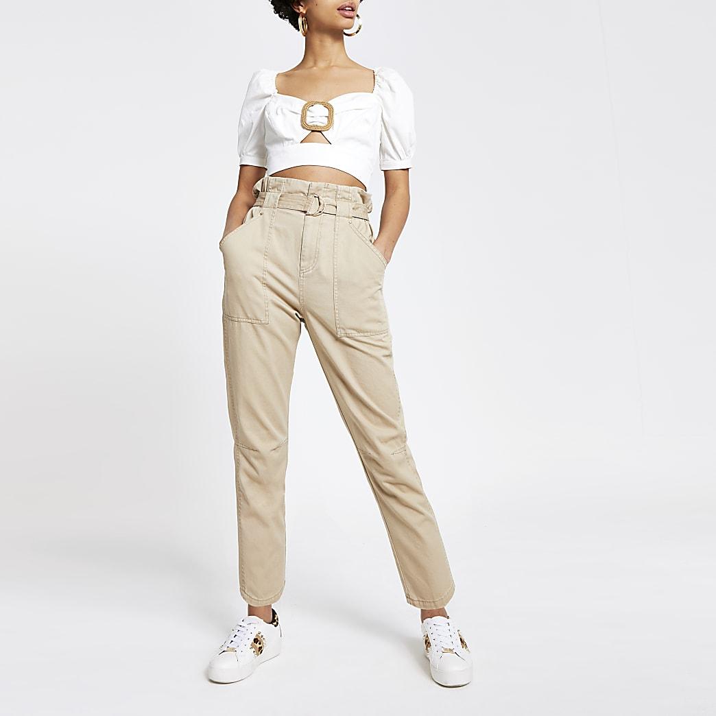 Pantalon fonctionnel en sergé beige à taille haute ceinturée