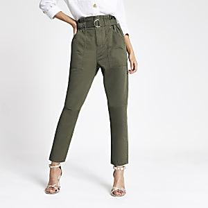 Paperbag-Jeans in Khaki
