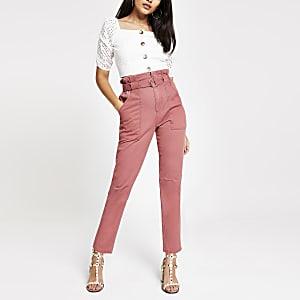 Roze utility-jeans met tailleplooien