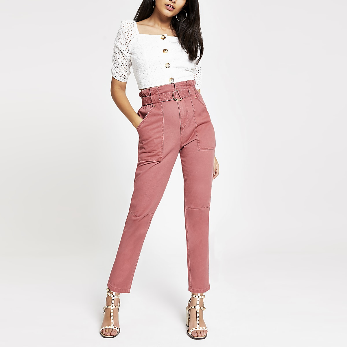 Jean style militaire taille froncée rose