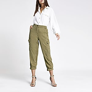 Kaki cropped cargobroek