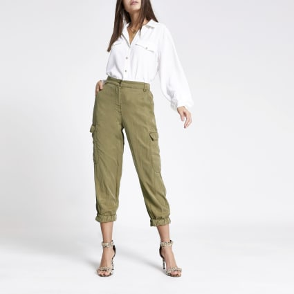 Khaki cropped cargo trousers