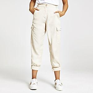 Cream utility trousers