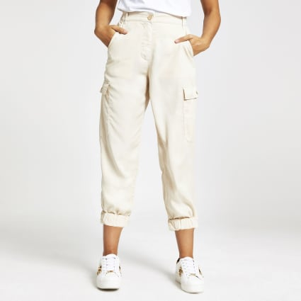 Cream utility trousers