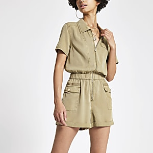 Beige utility playsuit