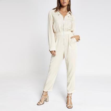 Cream utility boiler jumpsuit
