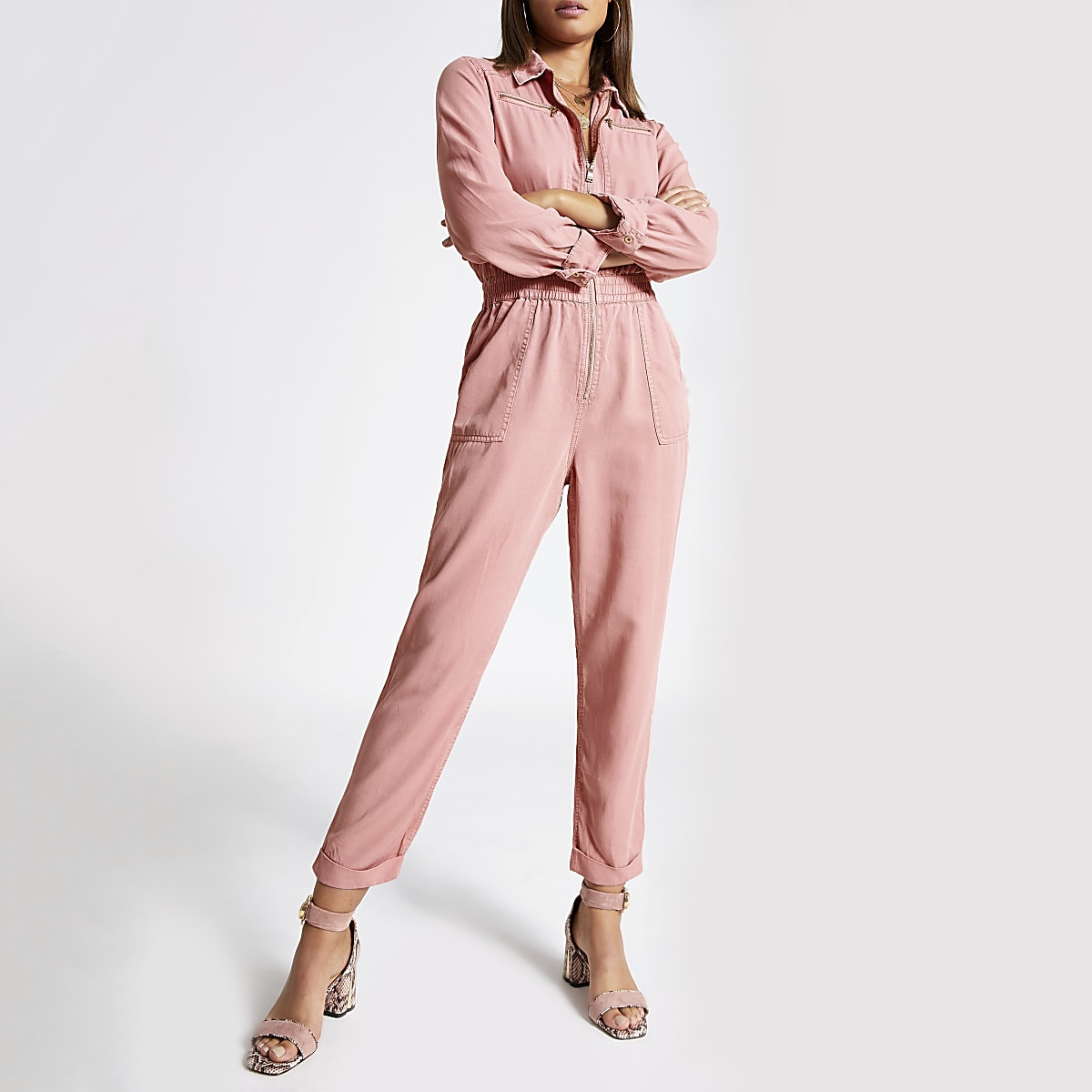 Light pink utility boiler jumpsuit