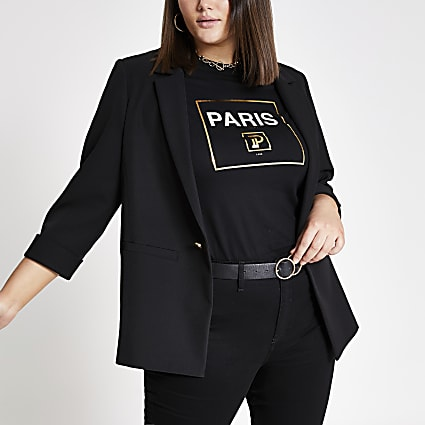 Plus black rolled sleeve blazer
