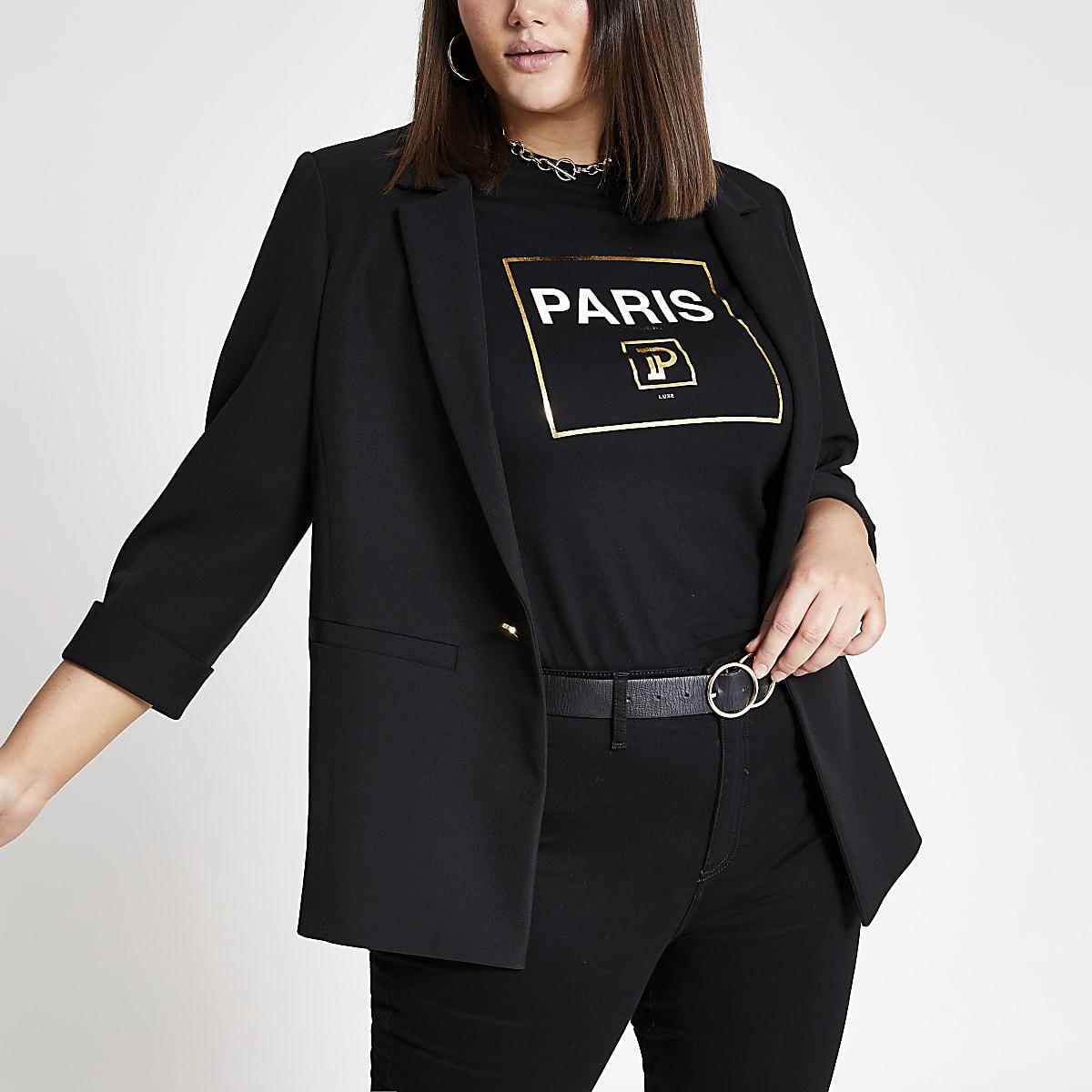 Plus – Schwarzer Blazer mit hochgerollten Ärmeln