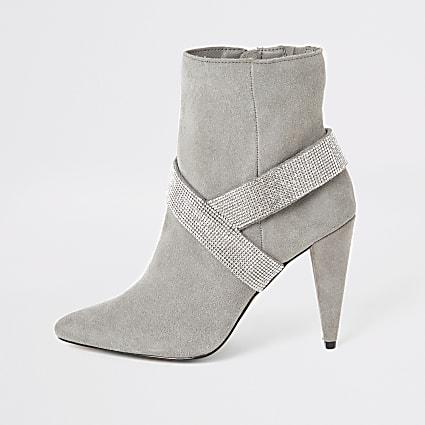 Grey suede embellished strap heeled boots