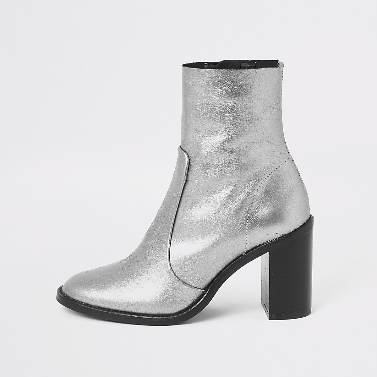 Silver leather sock boot
