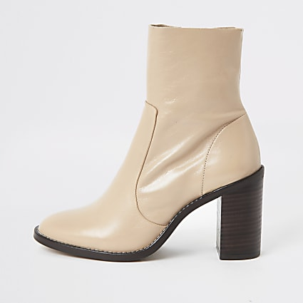 Light pink leather block heel sock boot