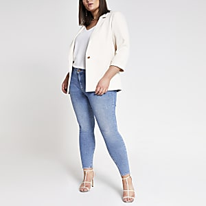 Plus cream rolled hem sleeve blazer