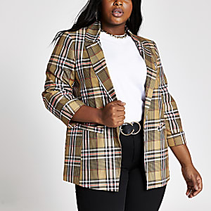 Plus biege check open front blazer