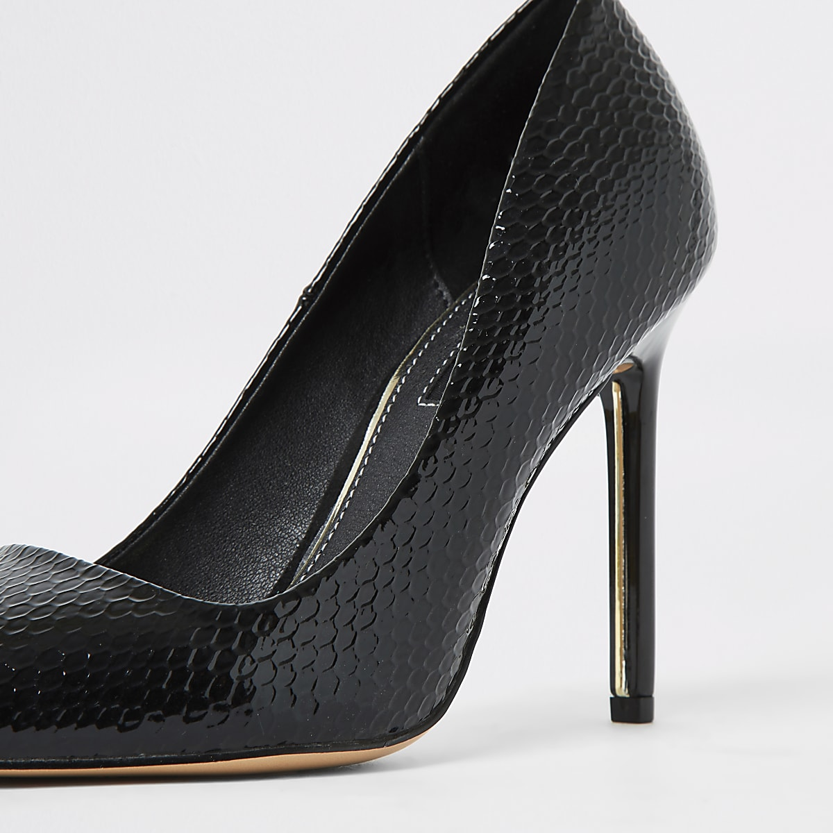 reputable site bbd9a 0f732 Black croc patent court shoes