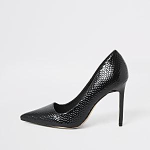Black croc patent court shoes