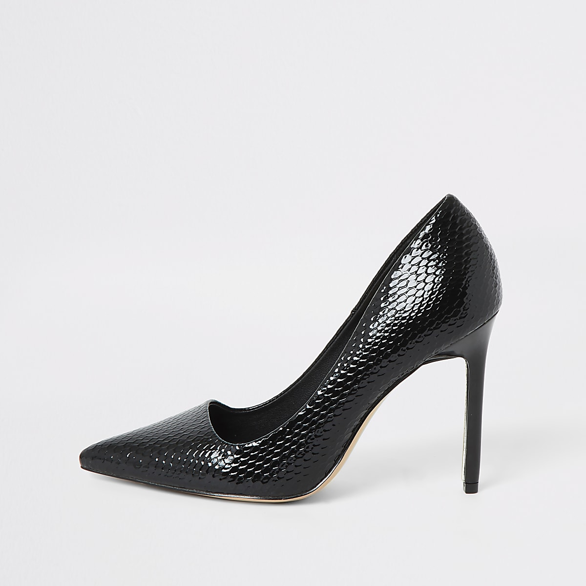 Black croc patent court shoes