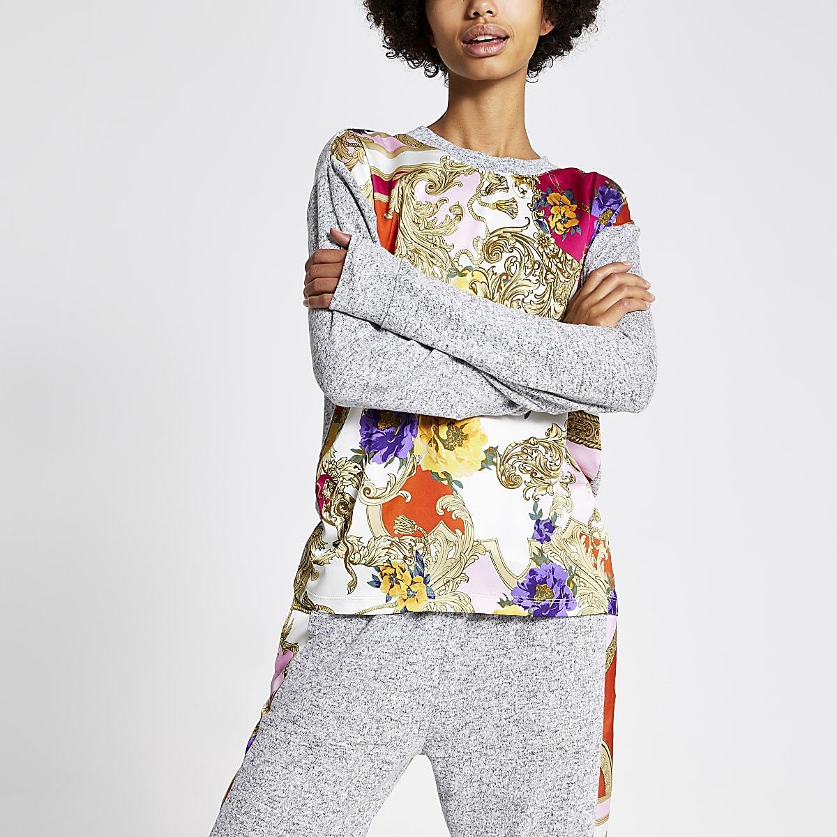 Grijze pyjamatop met sjaalprint en lange mouwen