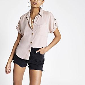 Roze tencel utility-overhemd met korte mouwen