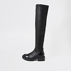 Robuste Overknee-Stiefel in Schwarz