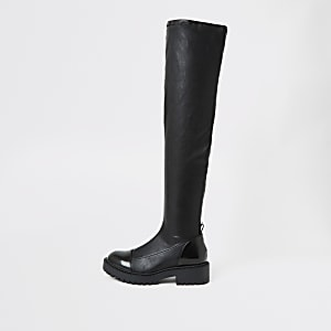 Zwarte stevige over de knie laarzen