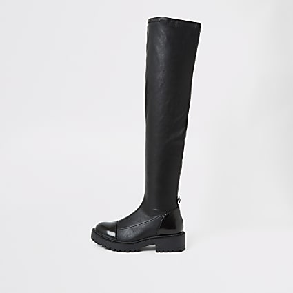 Black over the knee chunky boots