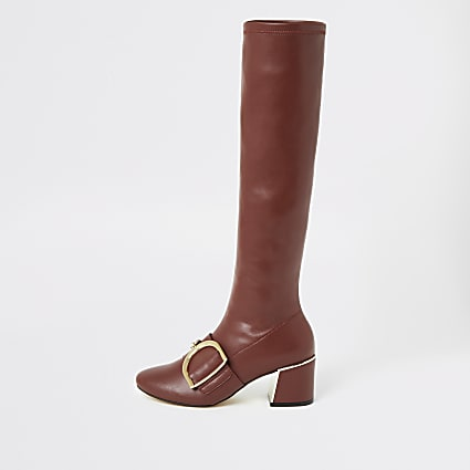 Burgundy buckle strap knee high boots