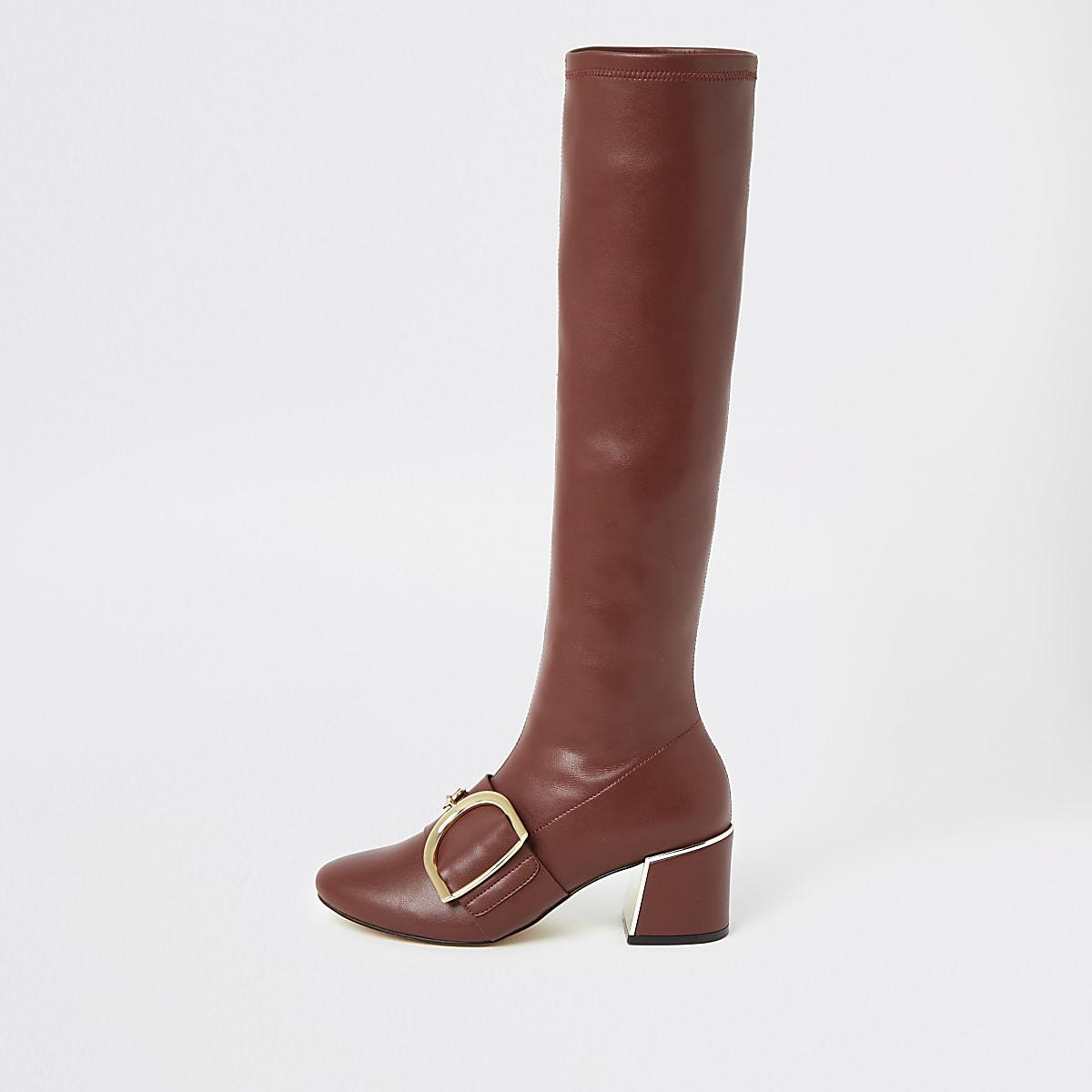 Wijnrode kniehoge laarzen met gesp